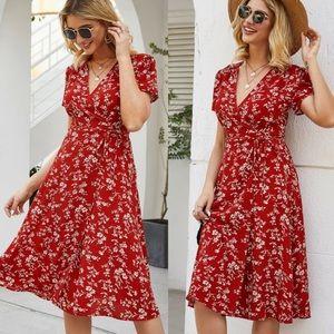 Boho floral print wrap dress